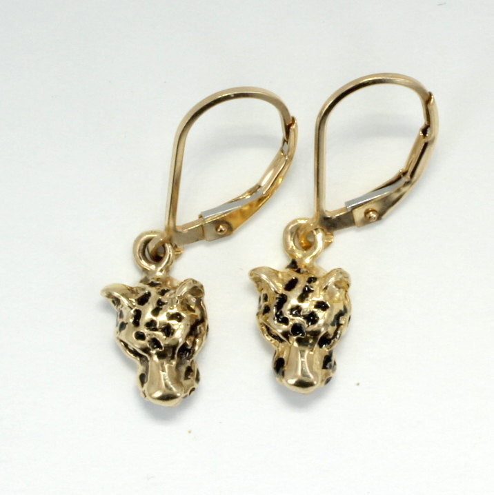 Small Leopard Head Dangle Earrings in 14kt Yellow Gold