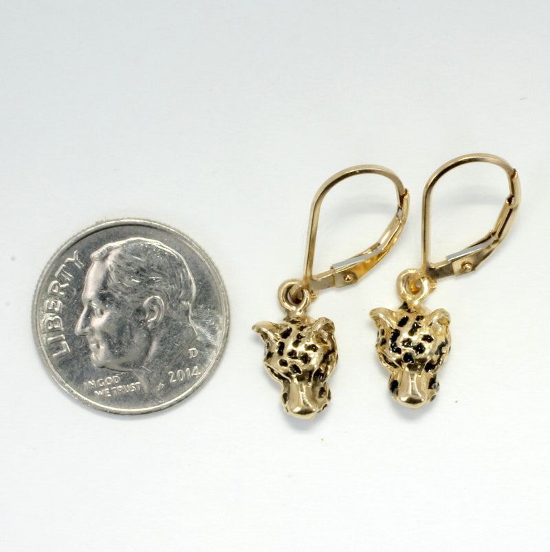 Leopard Jewelry,   Small Leopard Head Dangle Earrings in 14kt Yellow Gold