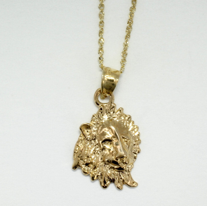 Lion jewelry lion necklace 14kt gold lion head pendant on 18 agrijewelry has coton boll jewelry for the cotton farmers wife mozeypictures Image collections