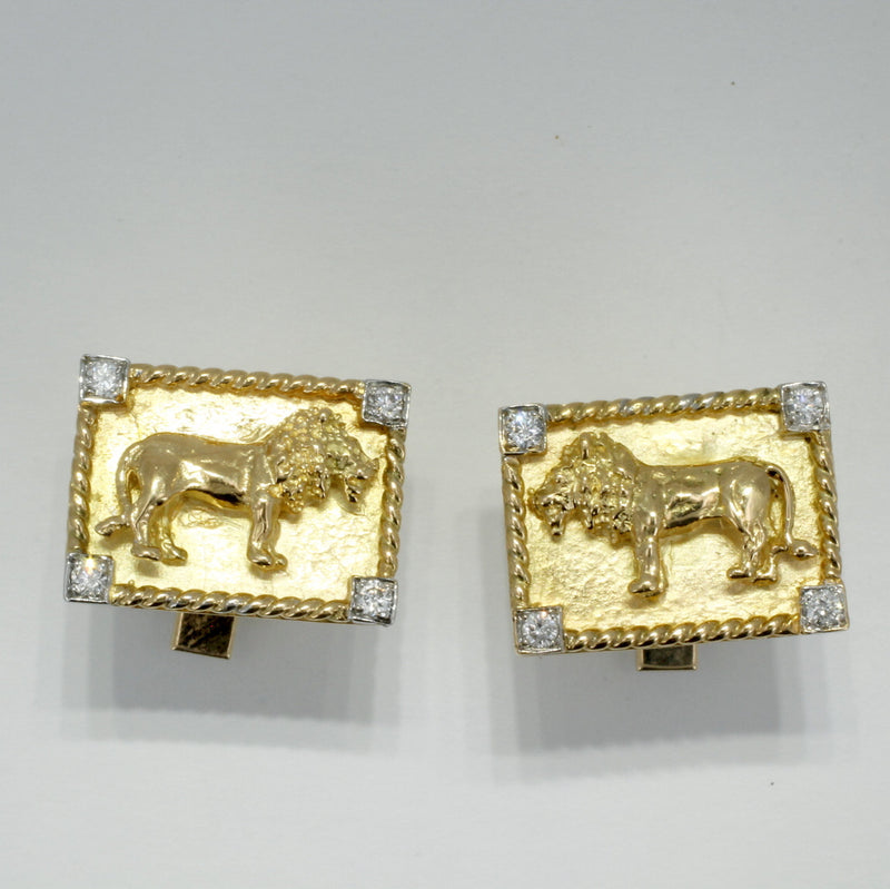 Mans 18kt Gold Lion Body Cuff Links with Diamond Corners