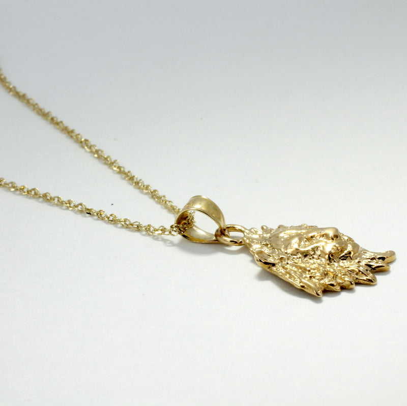 "Lion Jewelry , Lion Necklace , 14kt Gold Lion Head Pendant on 18"" Chain, Facing Right"