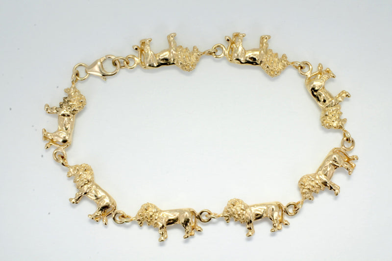 14kt Gold Full Body Lion Bracelet