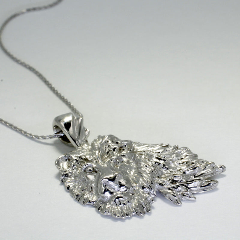 "Large 14kt White Gold Lion Head Pendant on 18"" Chain"