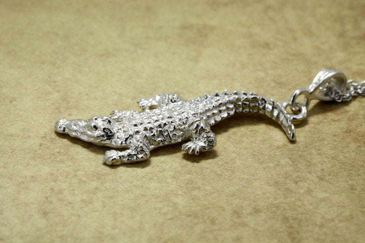 Large Alligator Necklace in real silver gift for her