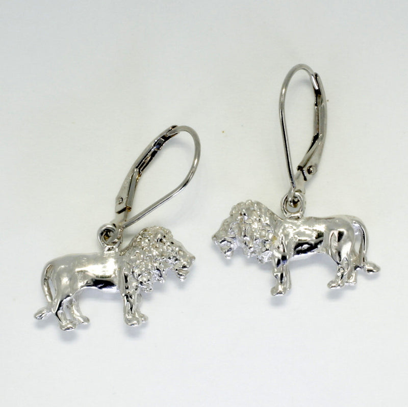 14kt White Gold Full Body Lion Dangle Earrings