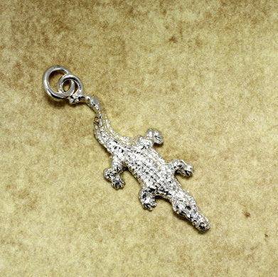 Small Alligator or Crocodile Charm in Sterling Silver. Crocodile Charm