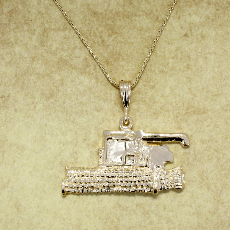 Combine Tractor Jewelry, Combine Wheat Harvestor Necklace in 14kt yellow gold with chain by agrijewelry.com