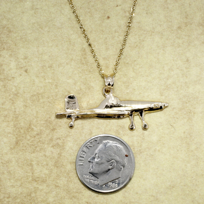 Airplane Jewelry , Airplane Necklace, Air Tractor Necklace in 14kt gold