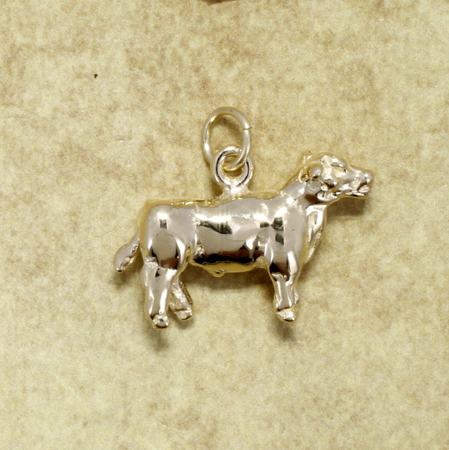 14kt Yellow Gold Show Steer Charm