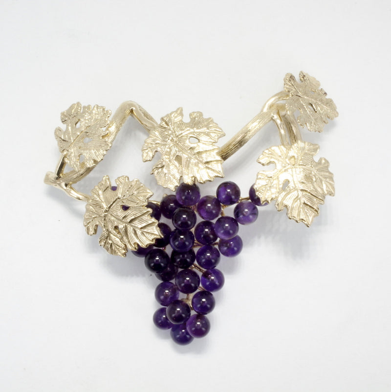 Five Leaf 14kt Gold Dark Purple Amethyst Grape Cluster Slide Necklace