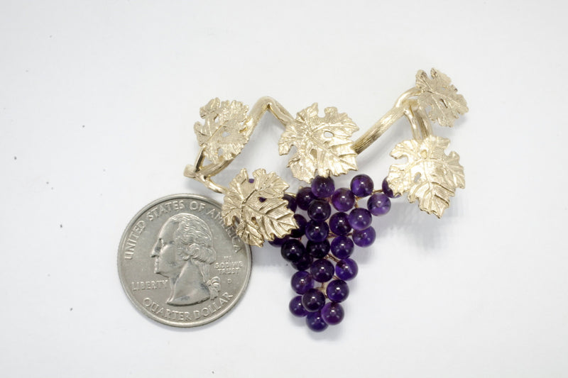 Grape Jewelry, Five Leaf 14kt Gold Dark Purple Amethyst Grape Cluster Slide Necklace