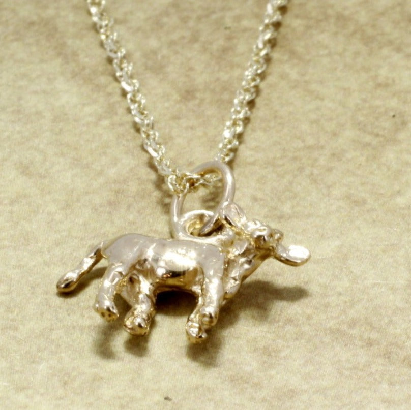 Calf Jewelry Gold Calf Necklace 14kt Solid Gold Tiny Calf On 18