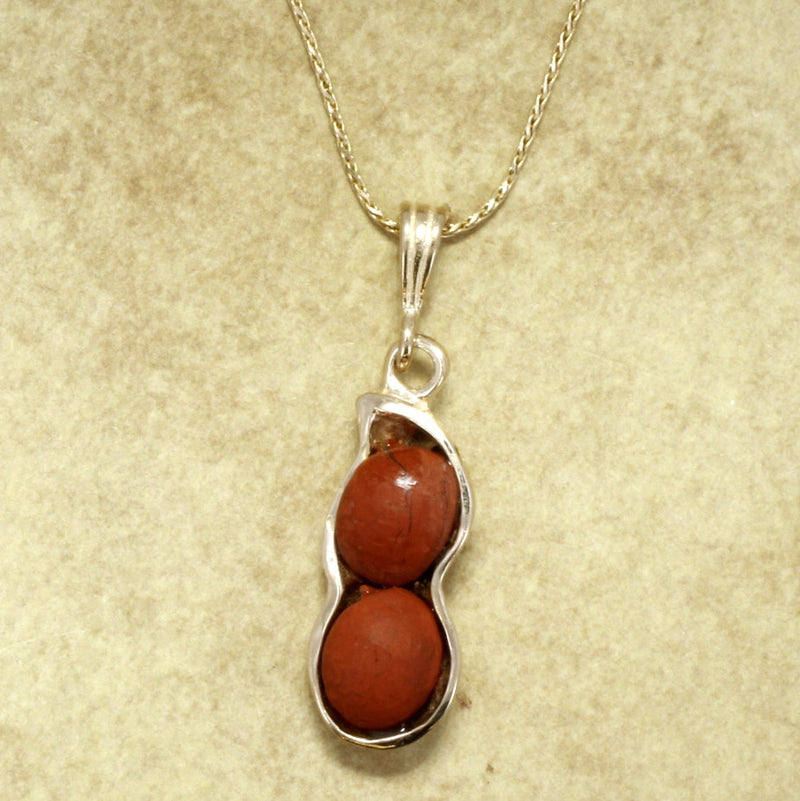 Red Japer Peanut Necklace with 14kt God Peanut Shell