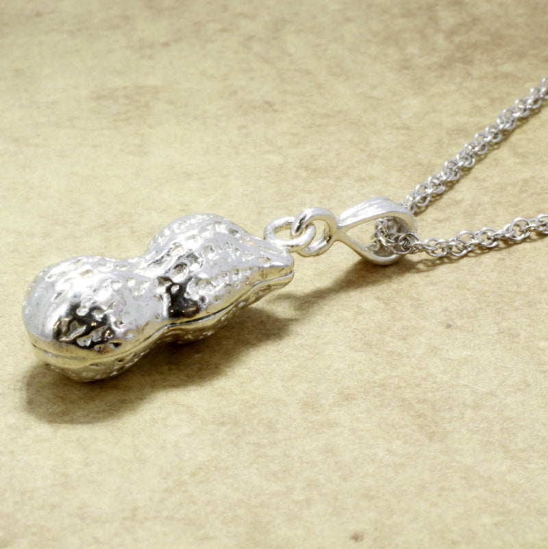 Whole Shell Peanut Necklace in Large size made in 925 Sterling Silver