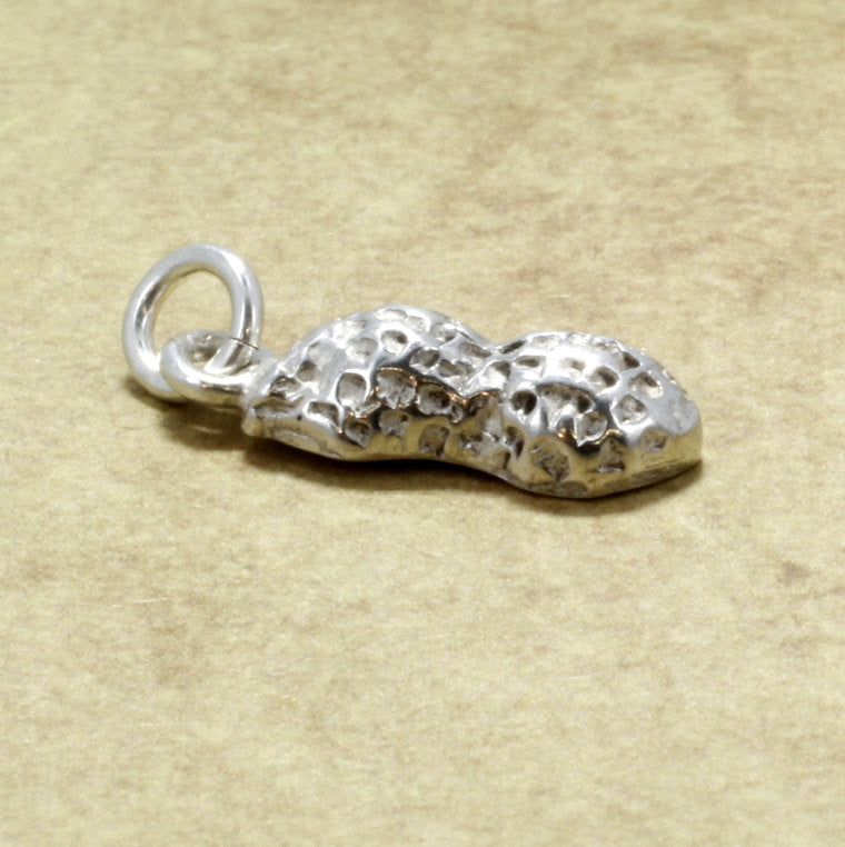 Small Sterling Silver Peanut Charm