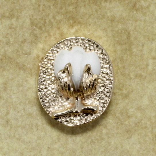 14kt Yellow Gold Mature White Cotton Boll charm for slide bracelet