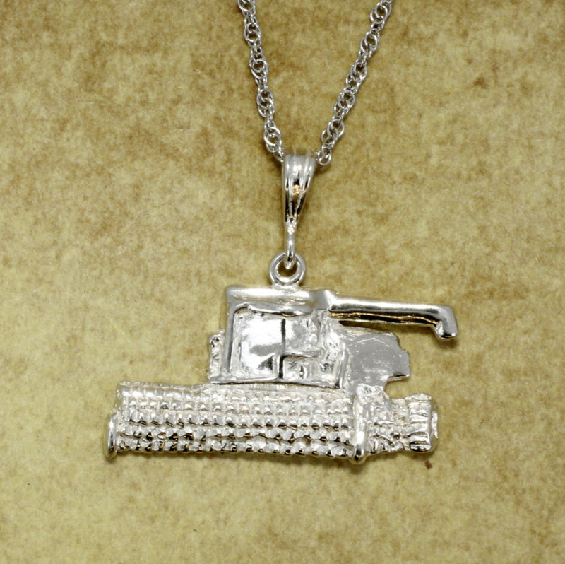 Combine Wheat Harvestor Necklace in Sterling Silver with chain by agrijewelry.com