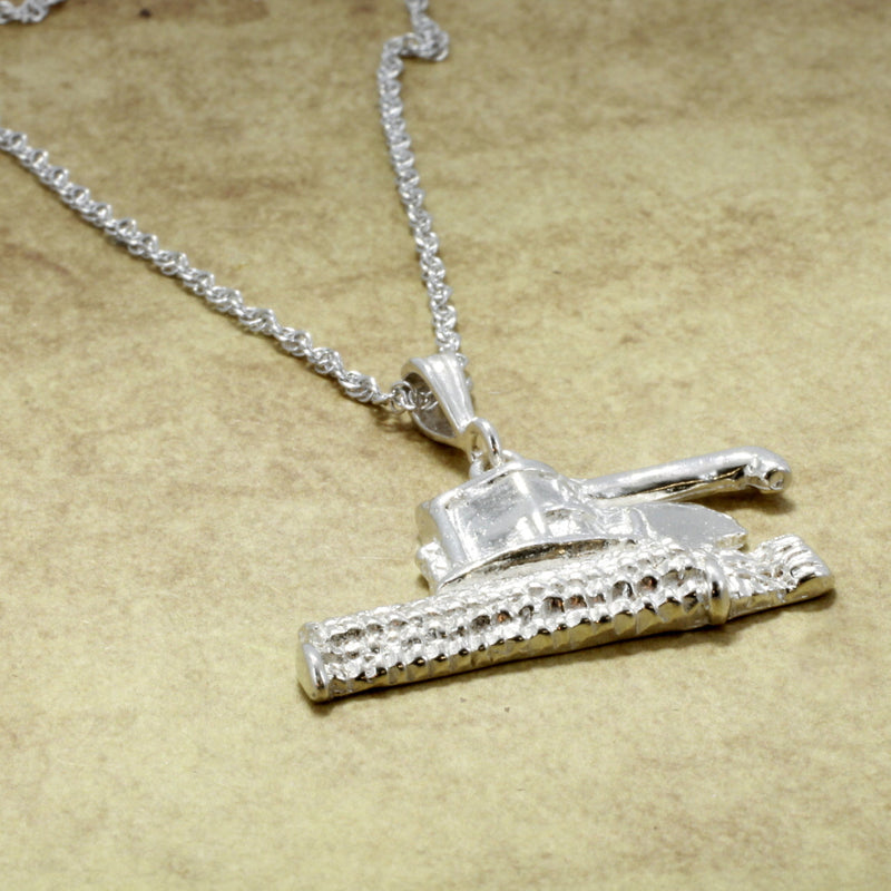Combine Wheat Harvestor Necklace in Sterling Silver with chain