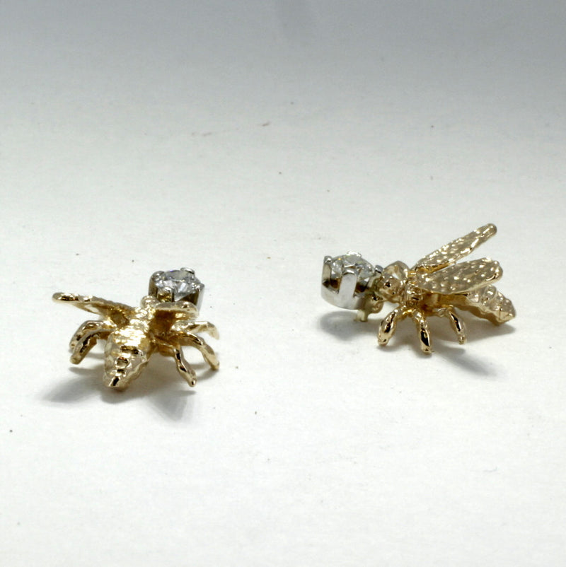 14kt gold Honey Bee Stud Earrings with diamonds by agrijewelry
