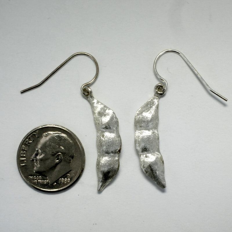 Whole Soybean Dangle Earrings in 925 Sterling Silver