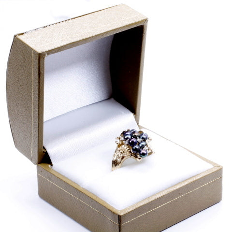 Grape Cluster Ring in 14kt gold with Black Freshwater Pearls and Diamonds