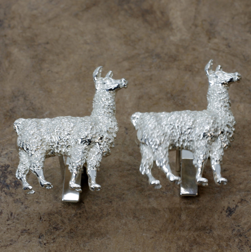 Large Llama Cuff Links for him with Extra Large 925 Sterling Silver Llama