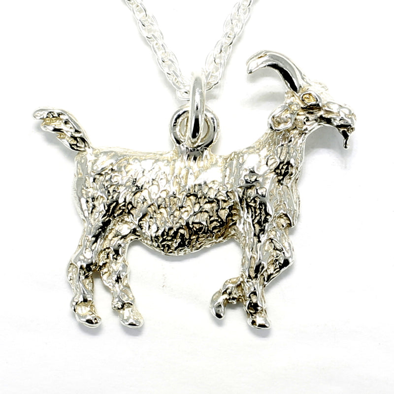 Large Silver Billy Goat Necklace in 925 Sterling Silver Big Horn Goat
