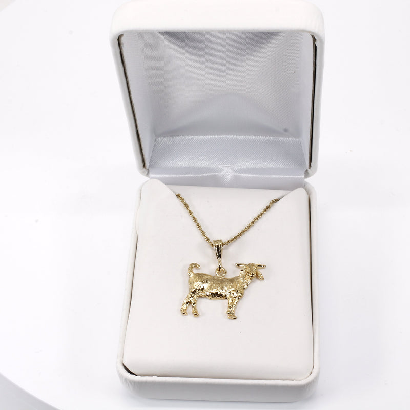 Large Boer Goat Necklace made in 14kt Gold Vermeil gift for her