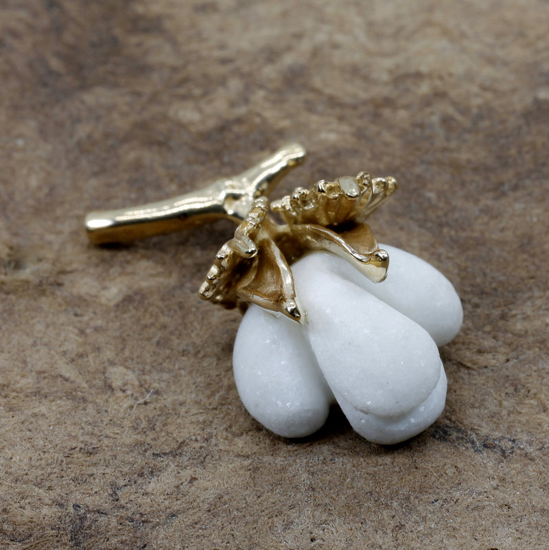 Handmade Cotton Boll Tie Tack with Cotton Leaf in Solid 14kt Gold Cotton Bur Setting