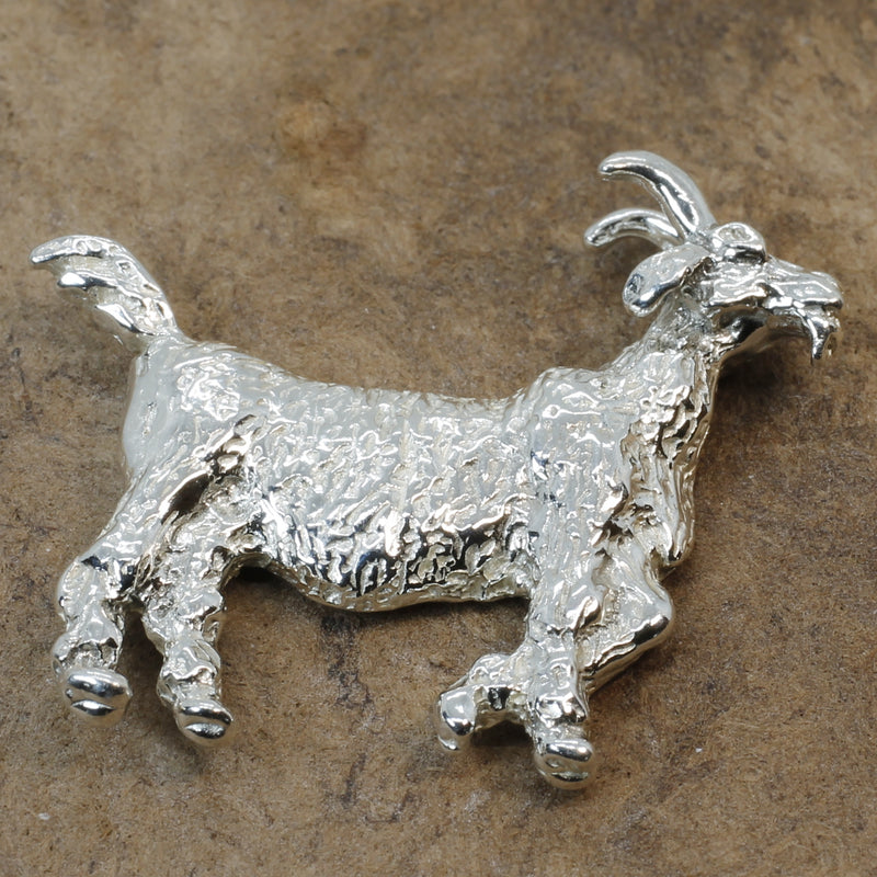 Large Gold Billy Goat Tie Tack/Lapel Pin in Solid 925 Sterling Silver