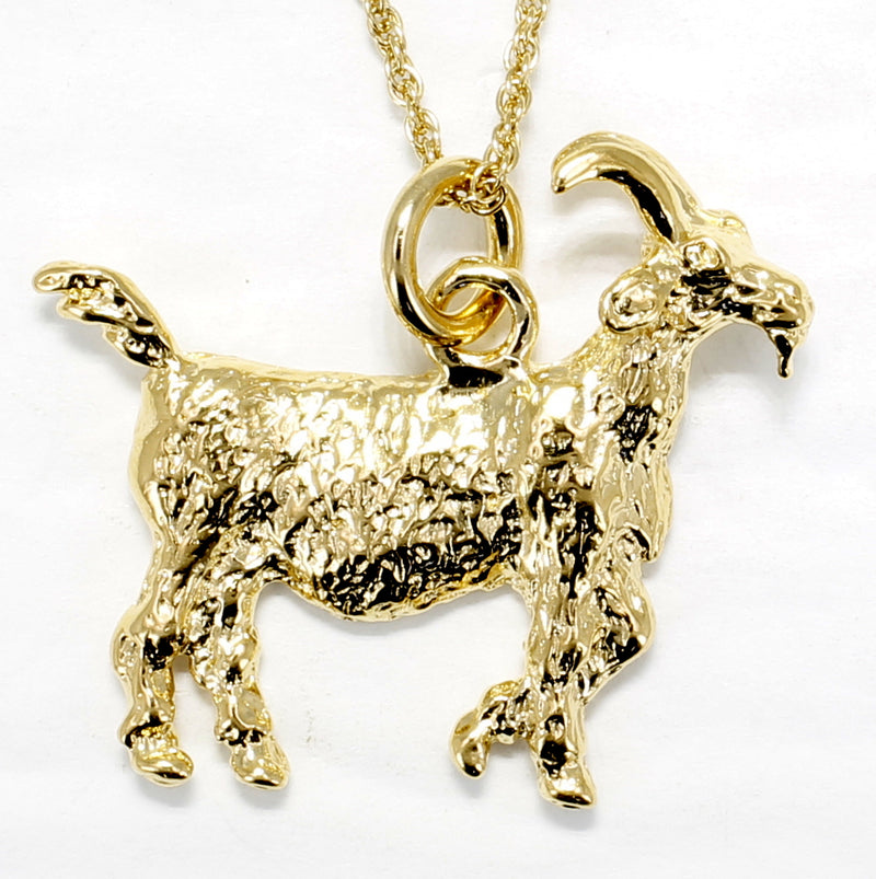 Large Gold Billy Goat Necklace in a 14kt Gold Vermeil Billy Goat