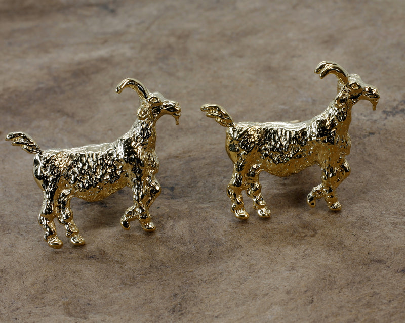 Gold Billy Goat Cuff Links in with 14kt Gold Vermeil Large Goats