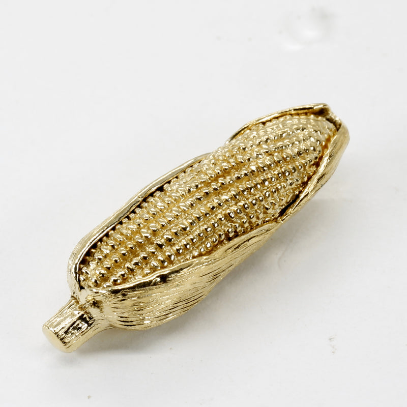 Large Gold Corn Tie Tack / Lapel Pin with 14kt Gold Vermeil Ear of Corn
