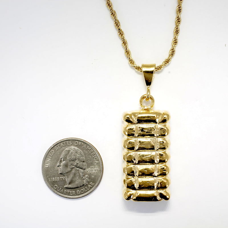 Mans Large Gold Cotton Bale Necklace with Rope Chain for him