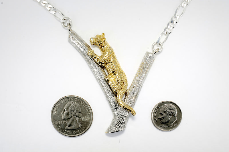 Large Gold Leopard on Silver Tree Branch with large silver link chain