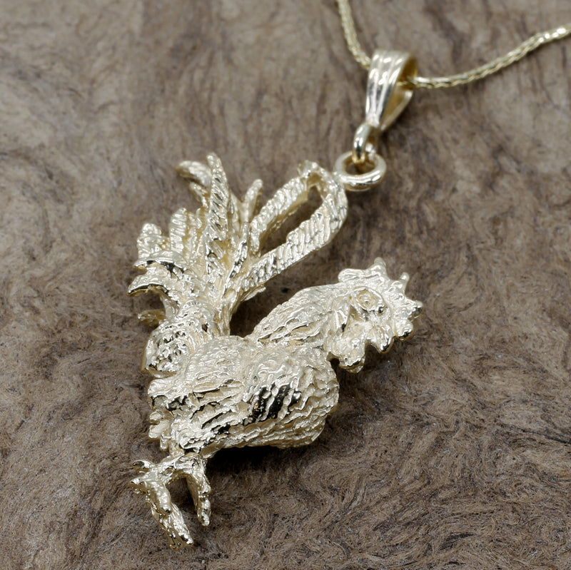 Gold Rooster Necklace with large 3-D solid 14kt yellow gold rooster chicken
