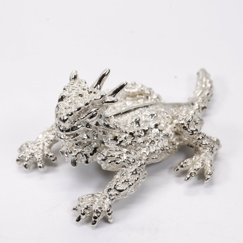 Horned Toad Frog Toad Desk Accessory Paperweight in 925 Sterling Silver
