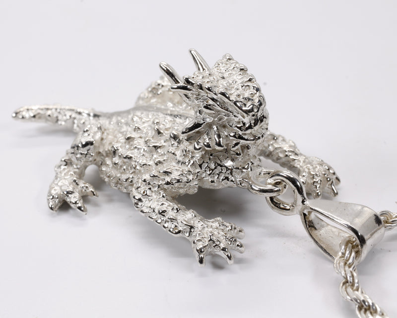 Large Silver Horned Toad Frog Lizard Necklace made in 925 Sterling Silver