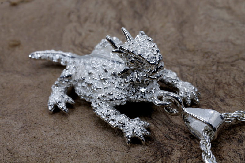 Large Silver Horned Toad Frog Llizard Necklace made in 925 Sterling Silver