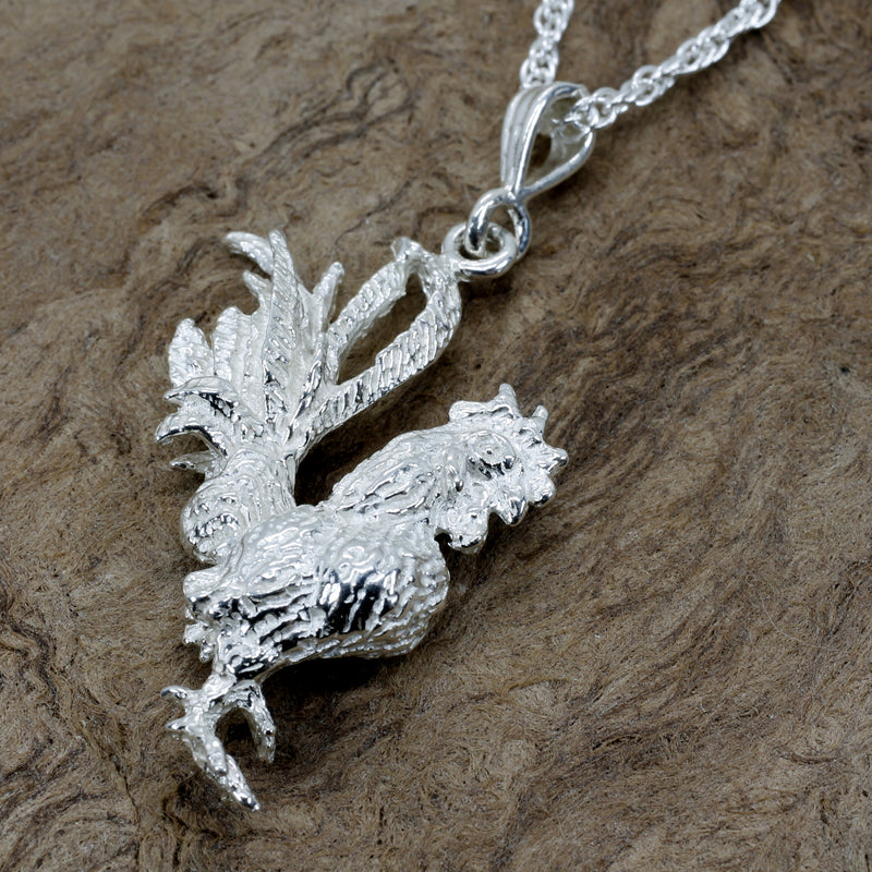 Silver Rooster Necklace with large three dimensional 925 sterling silver rooster