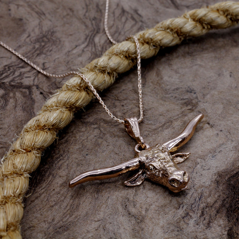 14kt Rose Gold Texas Longhorn Head Necklace for him or her