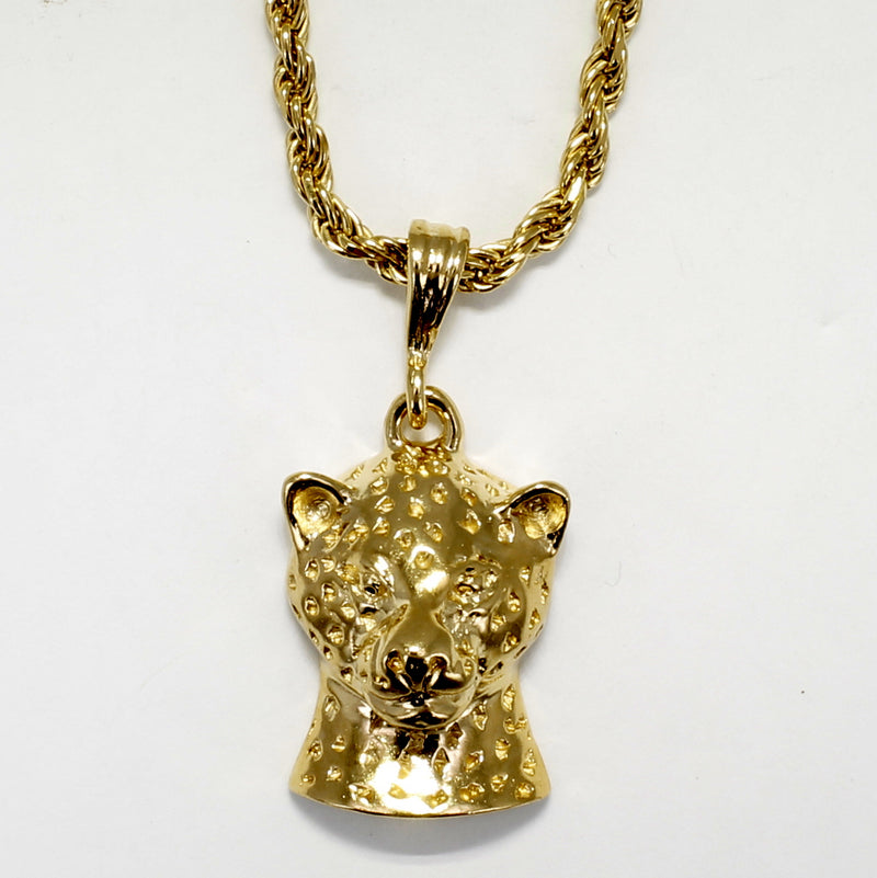 Men's Large Gold Vermeil Leopard Cat Necklace
