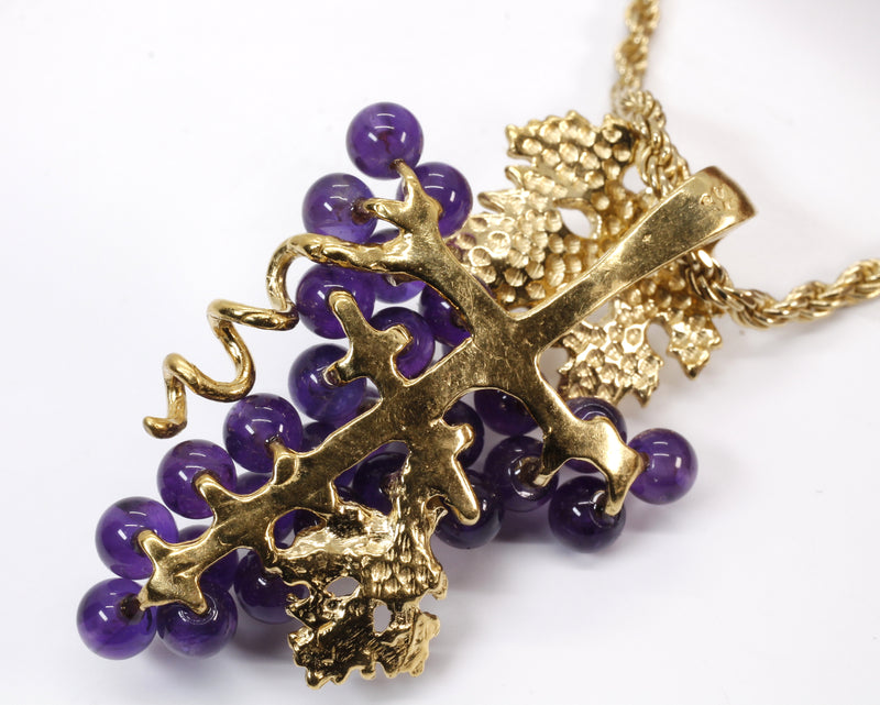 Large Size Amethyst Grape Cluster Necklace made in 14kt gold vermeil