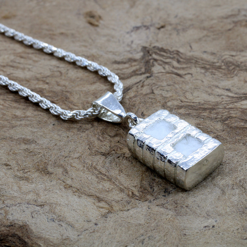Large Cotton Bale Necklace in 925 Sterling Silver with lint for man or woman
