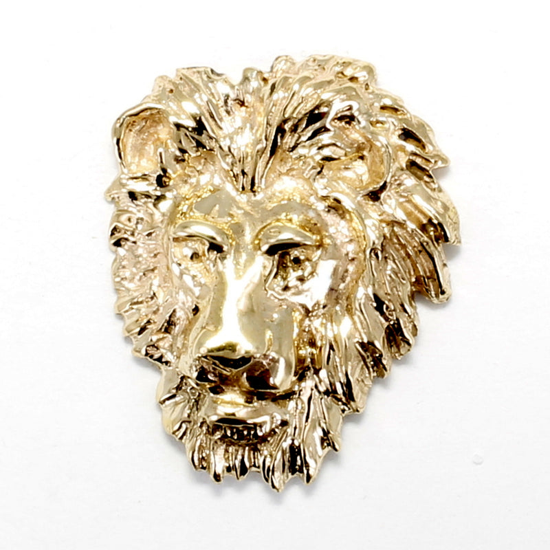 Solid 14kt Gold Large Lion Head Tie Tack for Men