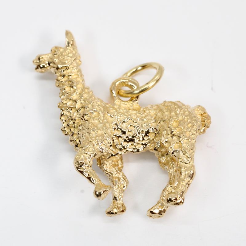 Larger Gold Alpaca Charm made in solid 14kt Yellow Gold for Alpaca Lover