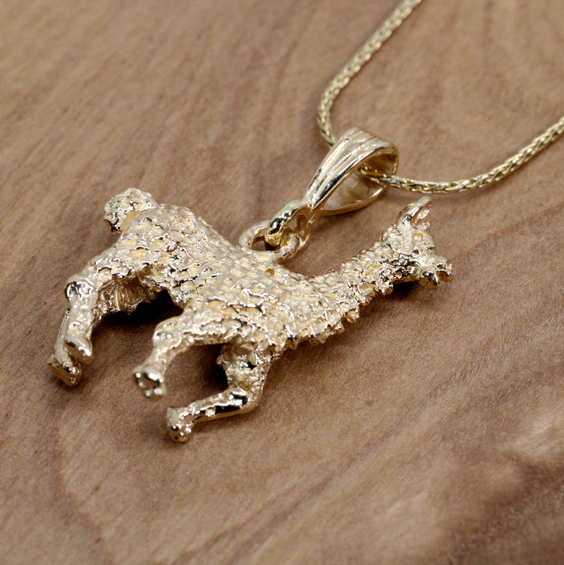 Large Gold Alpaca Necklace with Solid 14kt Gold Life-Like 3-D Alpaca
