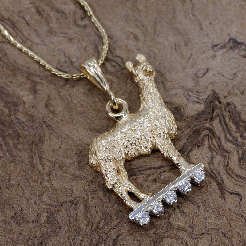 Llama Necklace in 14kt. gold with diamonds