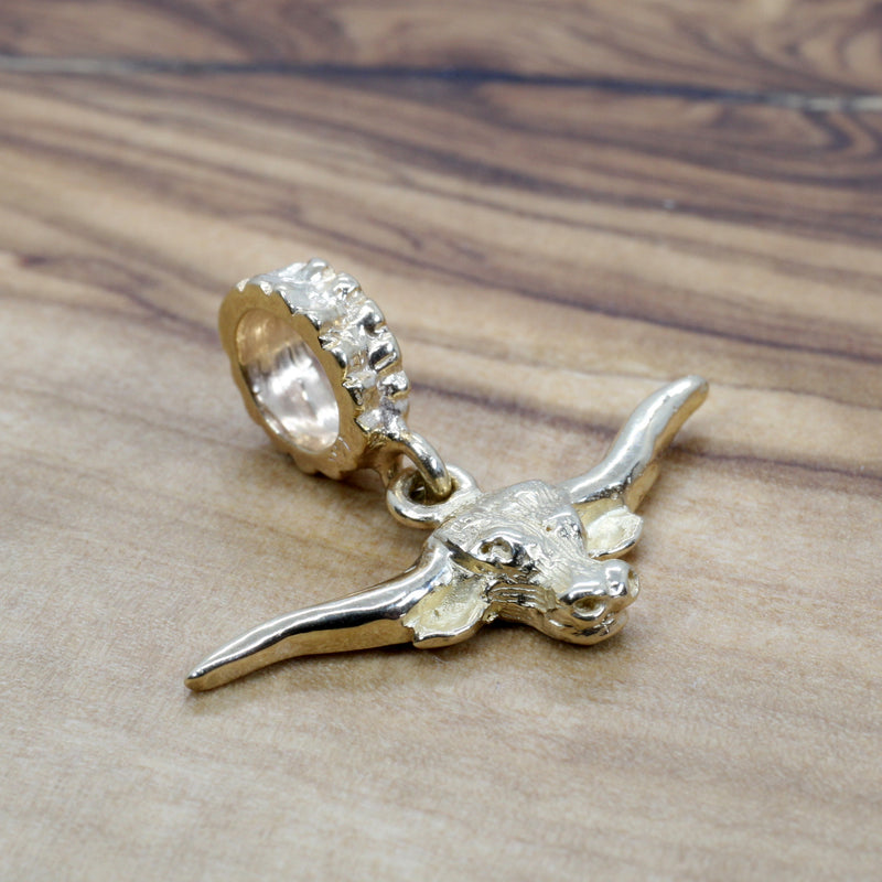 Gold Longhorn Head Slide charm for her slide bracelet