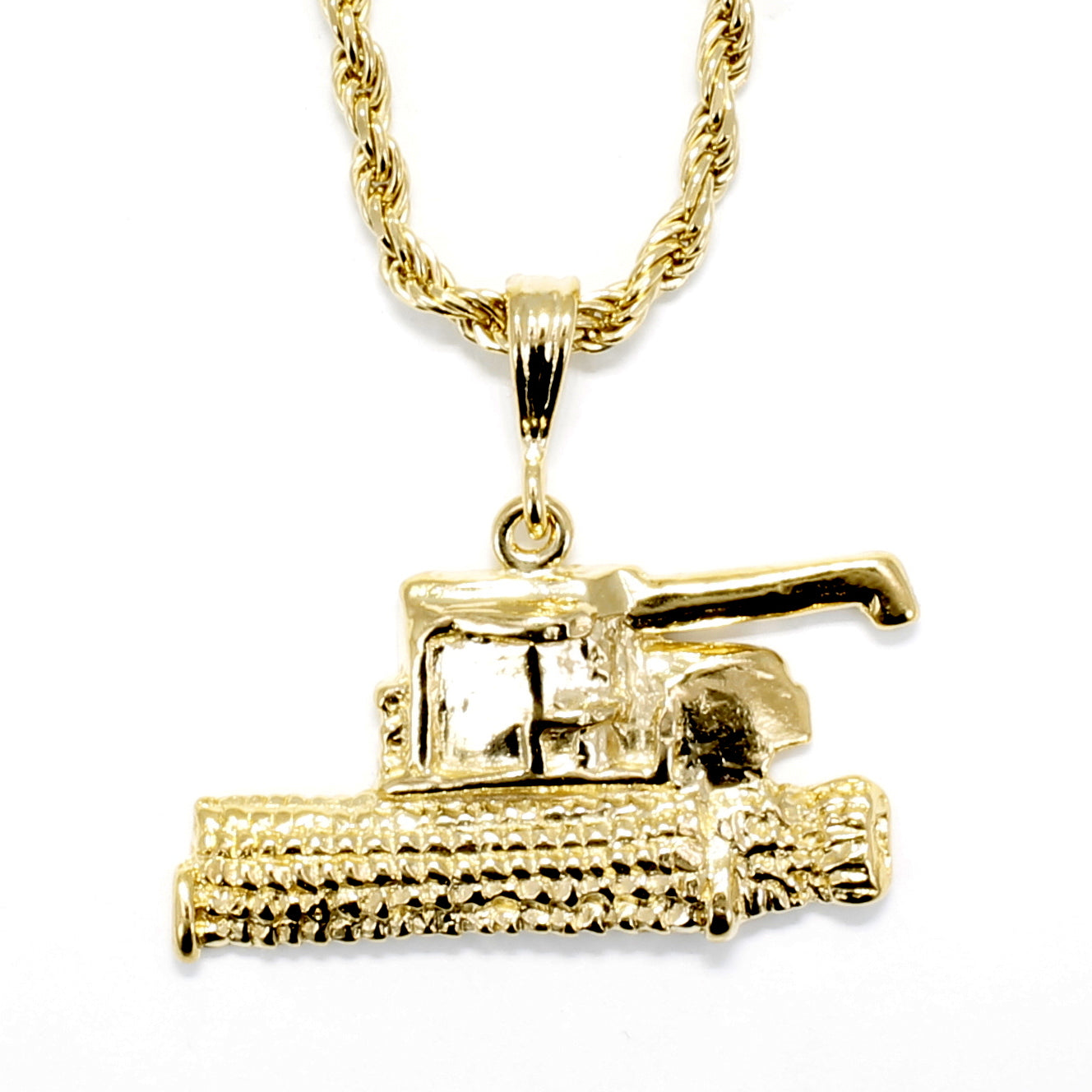 Combine Necklace In 14kt Gold Vermeil With Heavy Rope Chain For